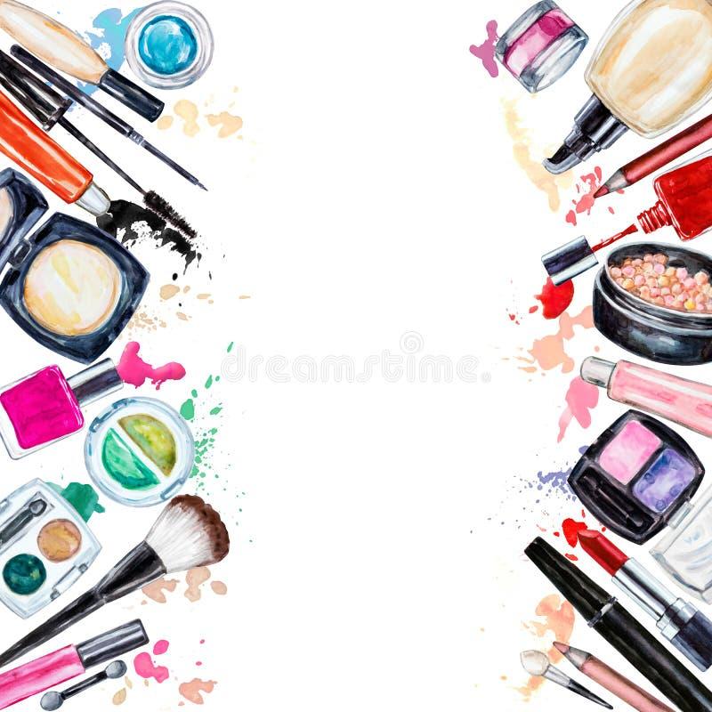 Рамка косметики различной акварели декоративной Продукты состава иллюстрация штока