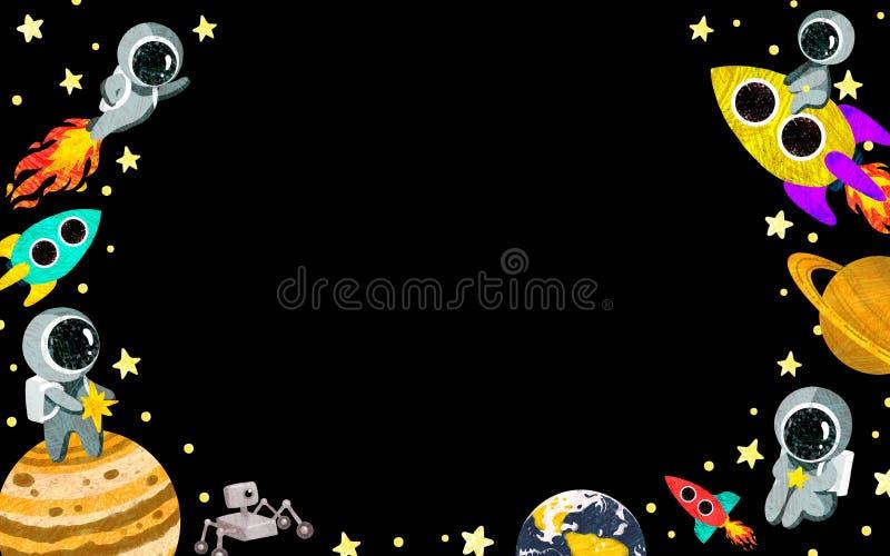 Рамка космоса горизонтальная с планетами, астронавтами, звездами и ракетами бесплатная иллюстрация