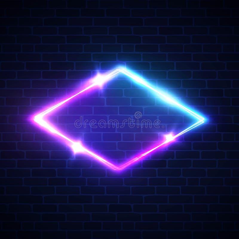 Рамка косоугольника неонового света ночного клуба на кирпичной стене иллюстрация вектора