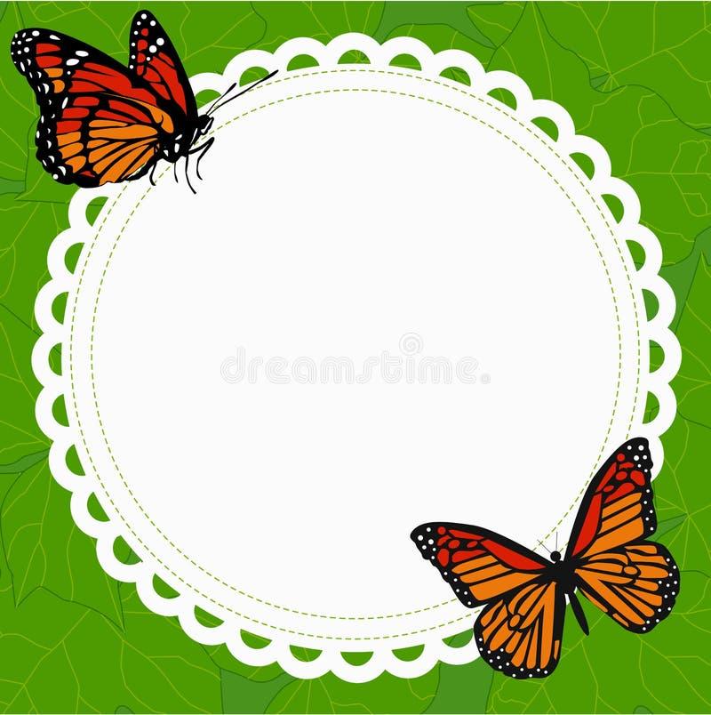 Рамка красивой весны круглая с парой бабочек на bac иллюстрация вектора
