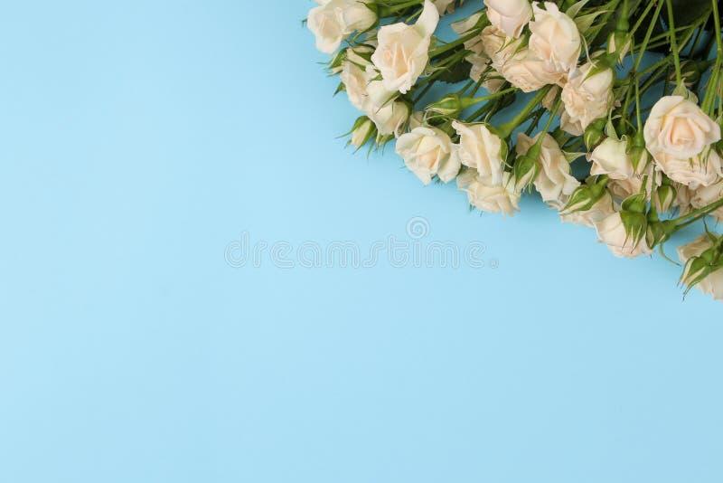 Рамка красивых мини роз на яркой голубой предпосылке красивейшие цветки праздники над взглядом стоковая фотография rf