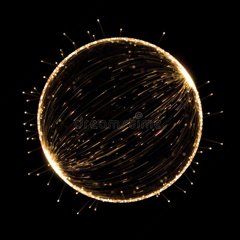 Рамка круга золота абстрактной предпосылки влияния неонового света для наградного оформления изделия иллюстрация штока