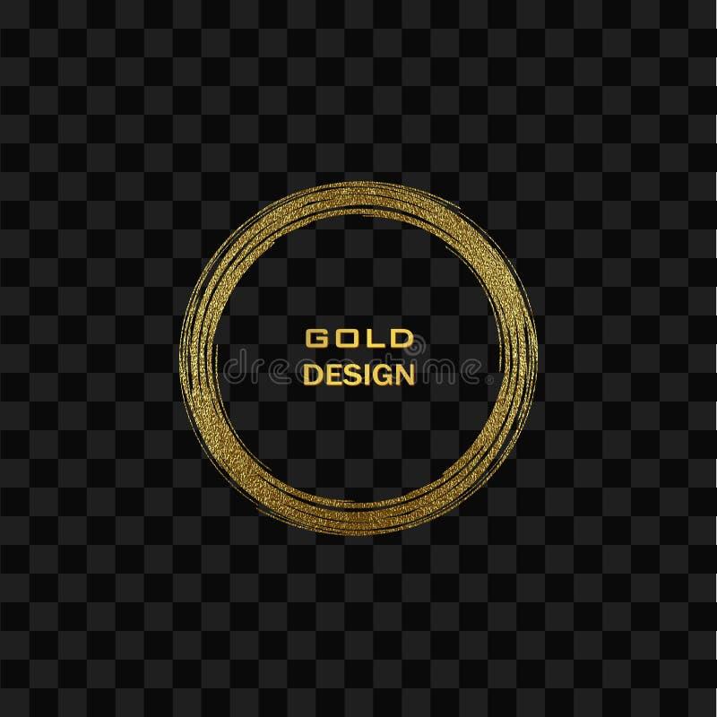 Рамка круглого grunge золотая дальше на прозрачной предпосылке Граница круга роскошная винтажная, иллюстрация вектора