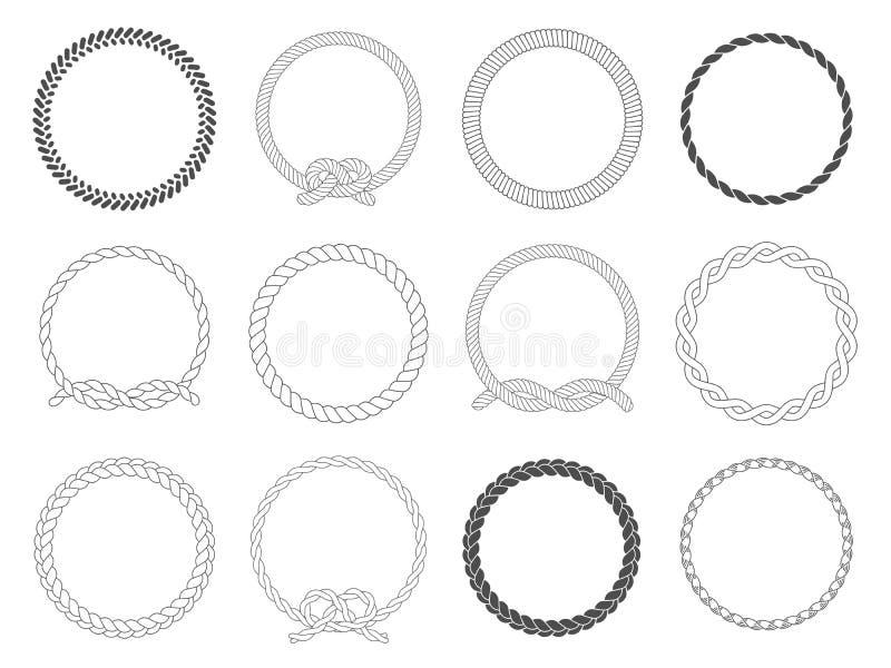 Рамка круглой веревочки Веревочки круга, округленная граница и декоративная морская рамка кабеля объезжают изолированный набор ве иллюстрация штока