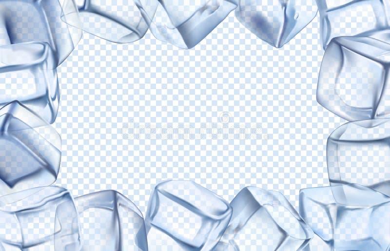 Рамка кубов льда Граница холодка, ледяной холодный куб и замороженная прямоугольной изолированная рамкой иллюстрация вектора бесплатная иллюстрация
