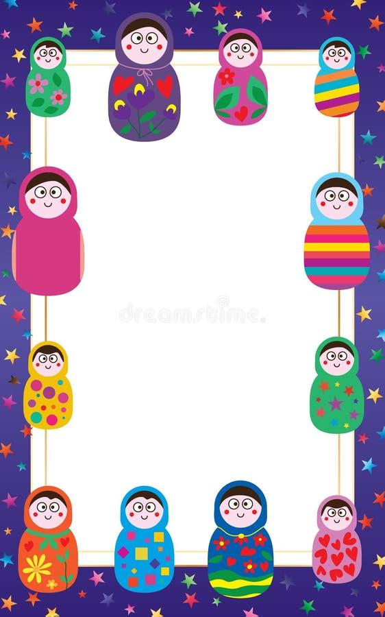 Рамка куклы России иллюстрация вектора