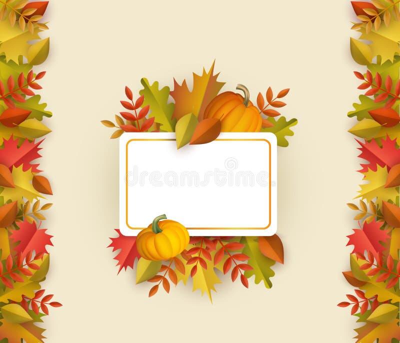Рамка листьев осени вектора квадратная бесплатная иллюстрация