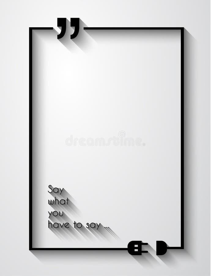 Рамка Марк цитаты с плоским стилем и космос для текста бесплатная иллюстрация