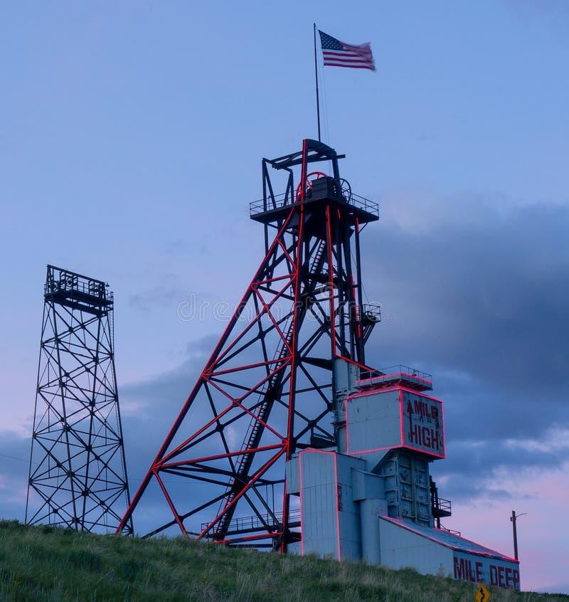Рамка минирования Монтаны Butte главная, миля мили высокая глубоко стоковое изображение