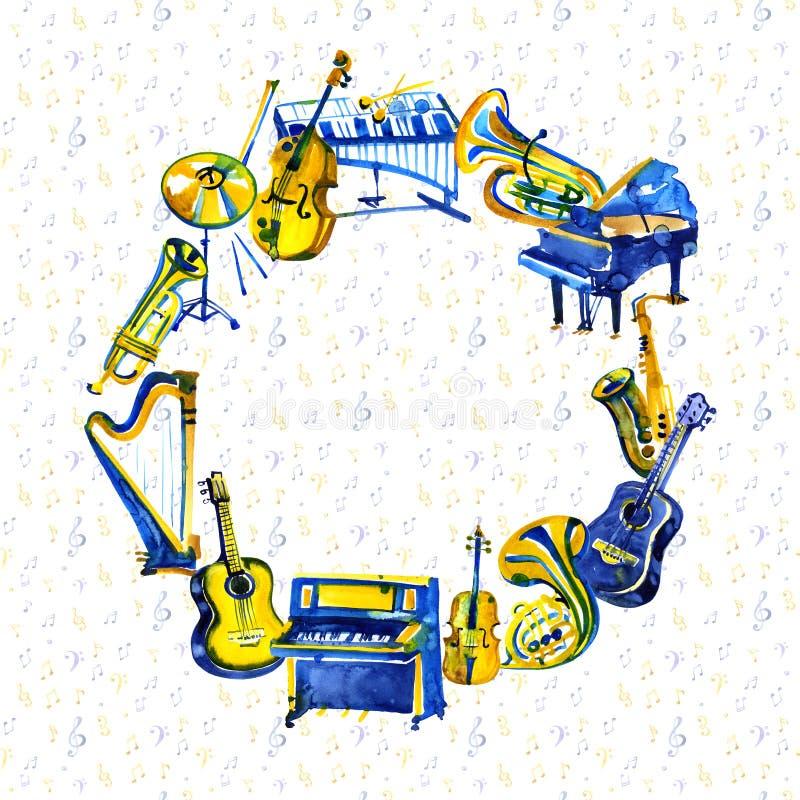 Рамка музыки с музыкальными инструментами и примечаниями Нарисованная рукой иллюстрация акварели иллюстрация штока