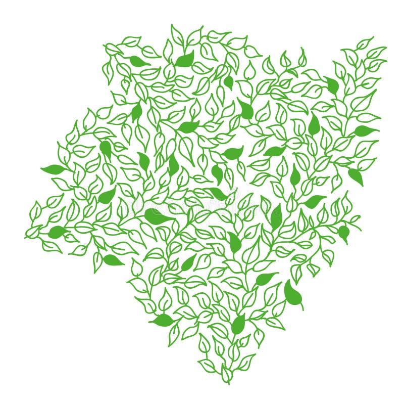 Рамка нарисованная рукой с листьями стоковое изображение rf