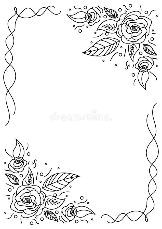 Рамка нарисованная рукой флористическая в черно-белом иллюстрация вектора