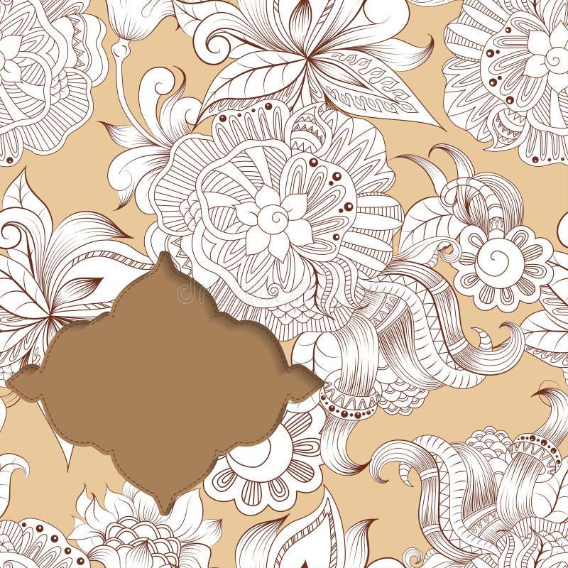 Рамка на предпосылке с схематичными орнаментами doodles иллюстрация штока