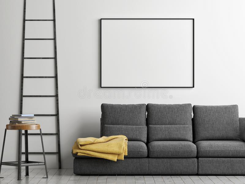 Рамка на стене, глумится вверх по плакату, иллюстрации 3d иллюстрация вектора