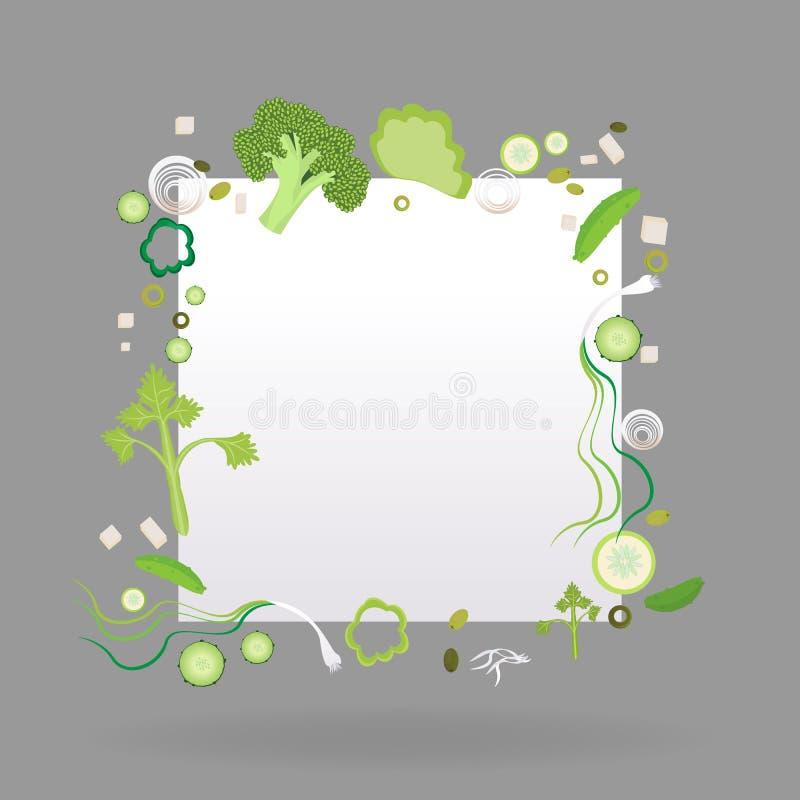 Рамка овоща квадратная с ярлыком бумаги иллюстрация штока