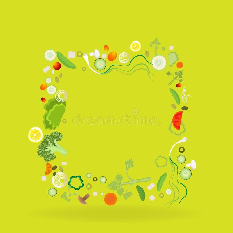 Рамка овоща квадратная с ярлыком бумаги бесплатная иллюстрация