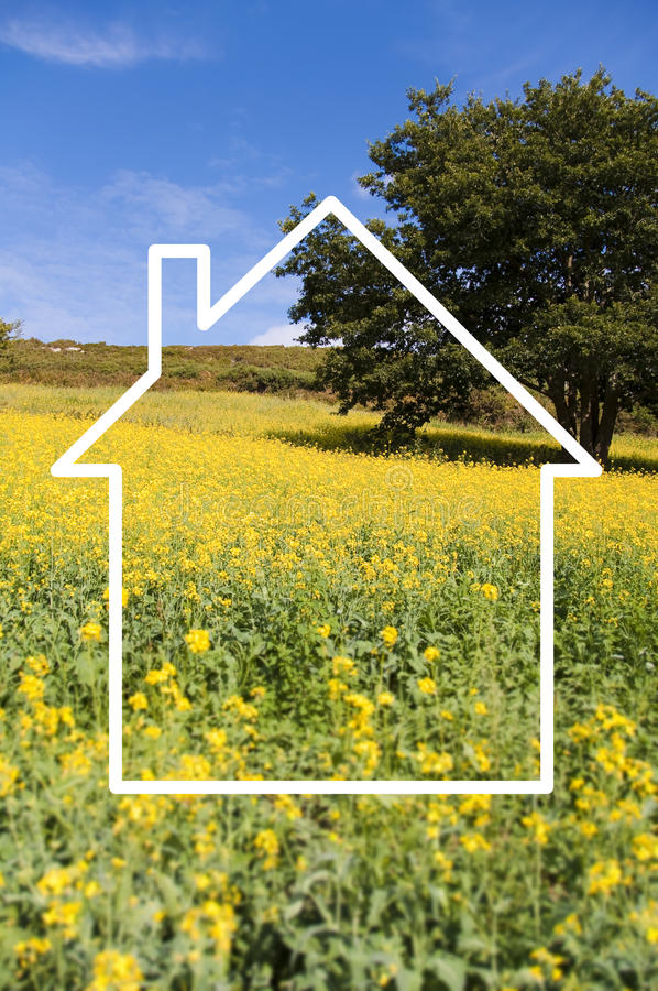 Рамка дома, сельская местность силуэта стоковые изображения