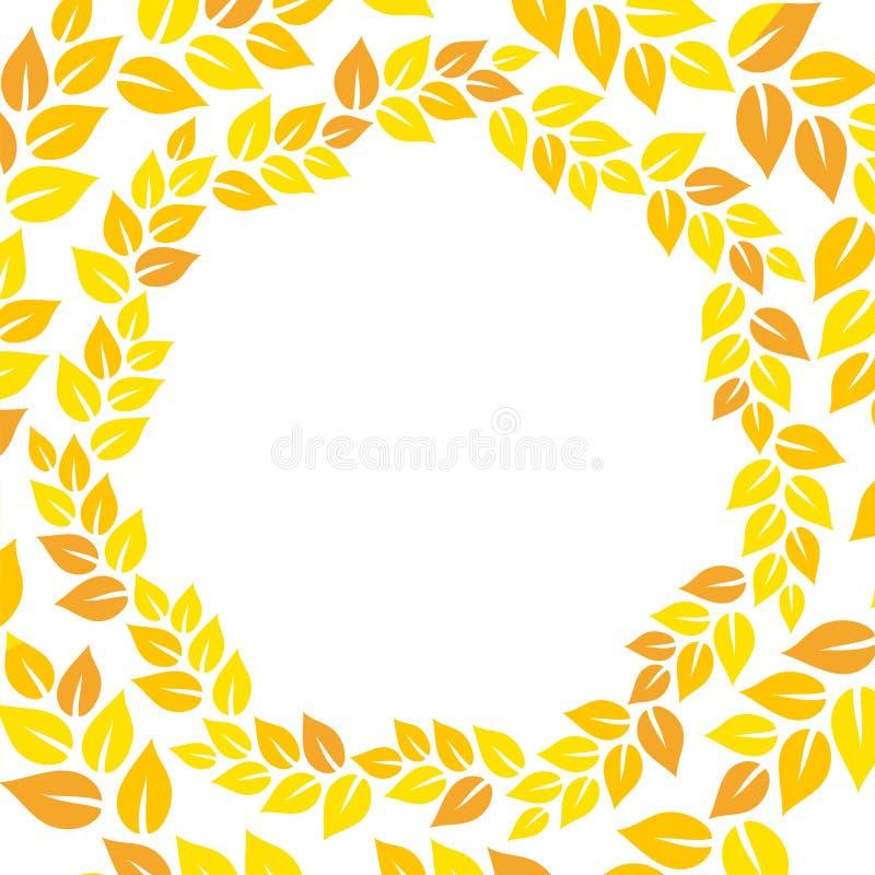 Рамка оранжевого и желтого венка листьев осени флористического круглая, вектор бесплатная иллюстрация