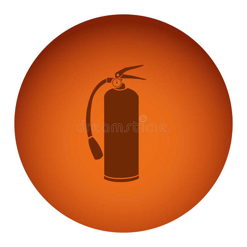 рамка оранжевого цвета круговая с значком огнетушителя силуэта иллюстрация вектора