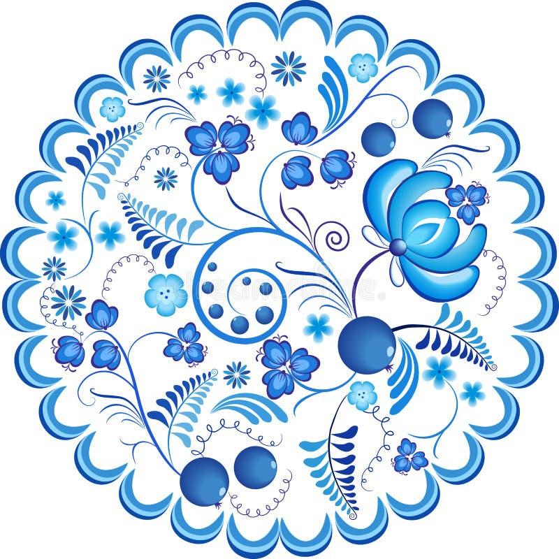 Рамка орнамента голубых цветков флористическая русская также вектор иллюстрации притяжки corel состав декоративный иллюстрация штока