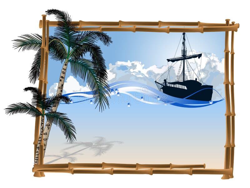 Рамка от бамбука иллюстрация штока