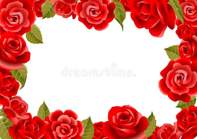 Рамка от красных роз иллюстрация штока