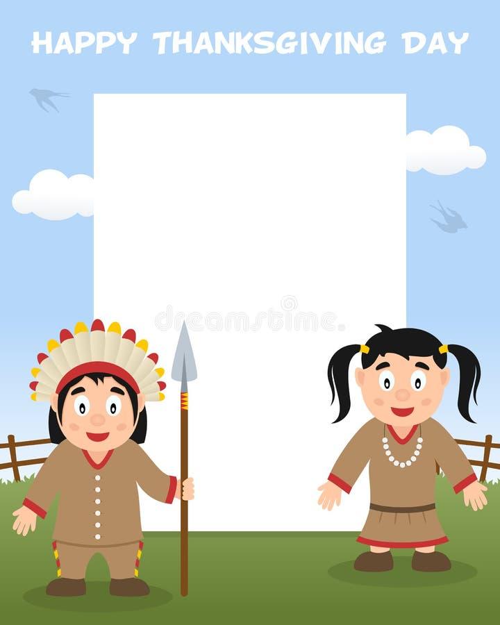 Рамка официальный праздник в США в память первых колонистов Массачусетса вертикальная - индейцы иллюстрация штока
