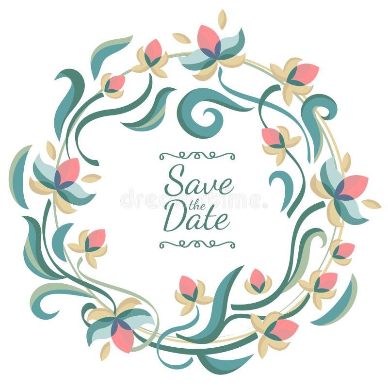 Рамка пастельного цвета вектора флористическая с цветками Свадьба, день рождения иллюстрация штока