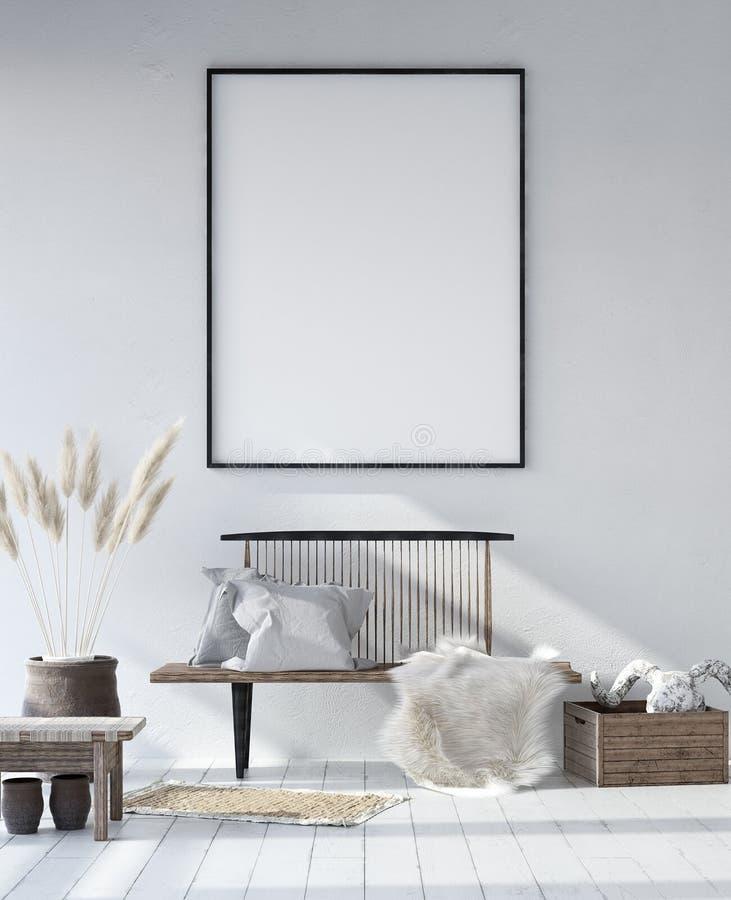 Рамка плаката модель-макета в затрапезной скандинавской внутренней предпосылке бесплатная иллюстрация