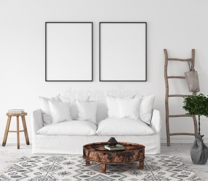 Рамка плаката модель-макета в предпосылке живущей комнаты, стиле Scandi-Boho иллюстрация вектора