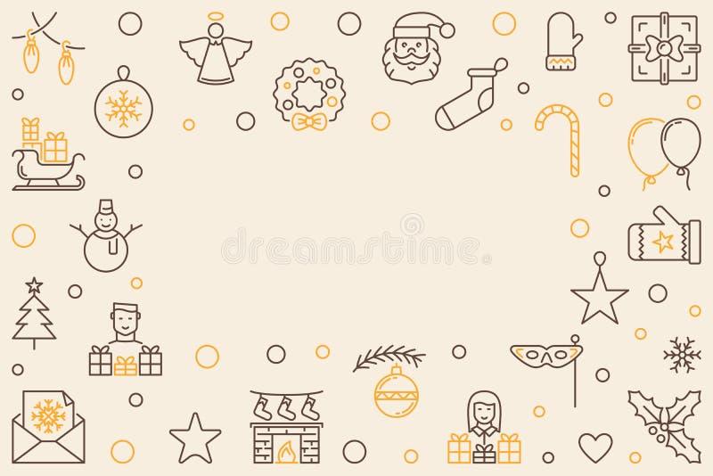 Рамка плана веселого рождества вектора горизонтальная иллюстрация вектора