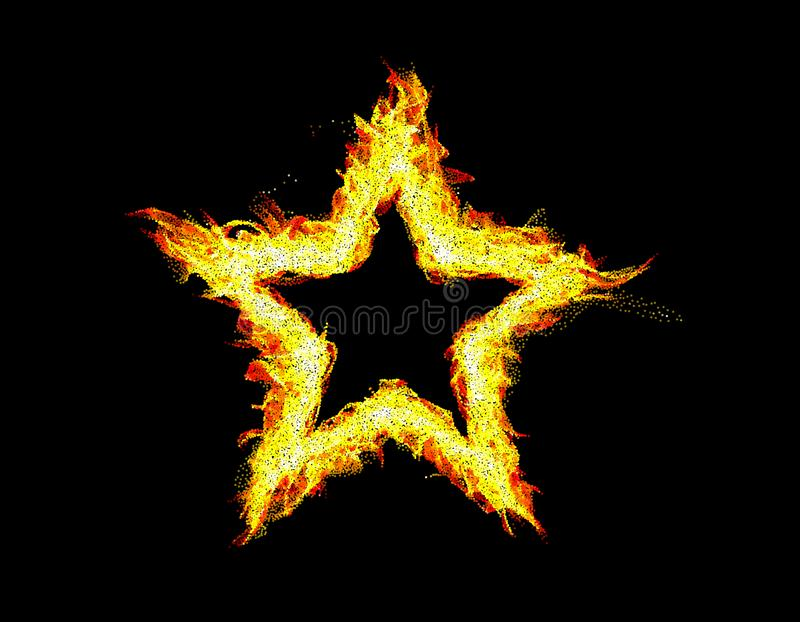 рамка пожара предпосылки черная абстрактная звезда иллюстрация штока