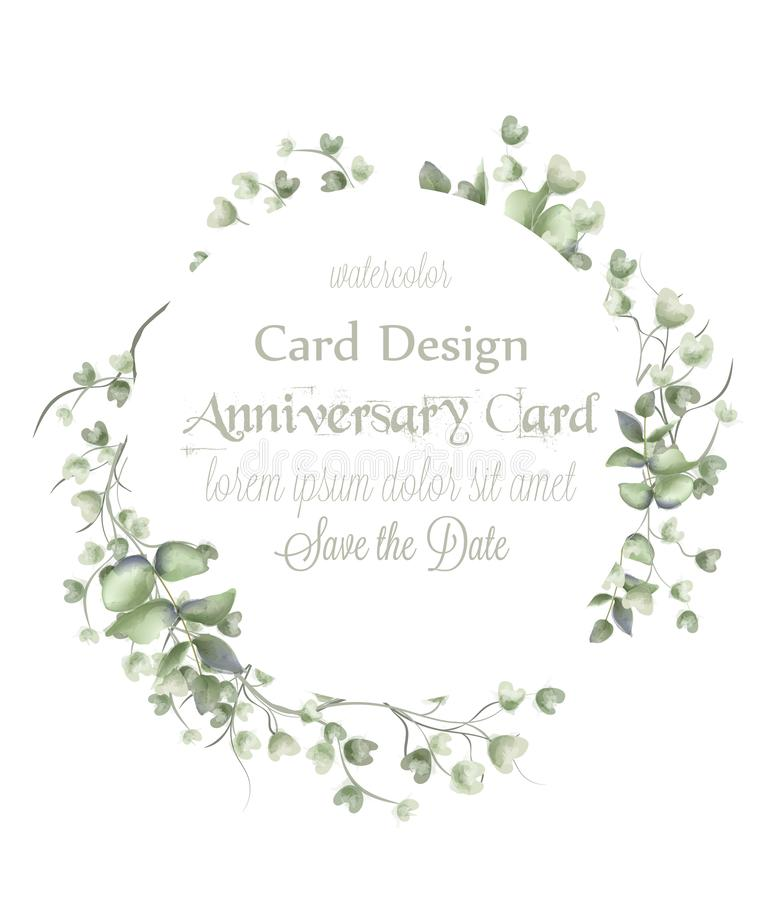 Рамка поздравительной открытки с акварелью выходит вектор Простые современные красивые оформления дизайна иллюстрация вектора