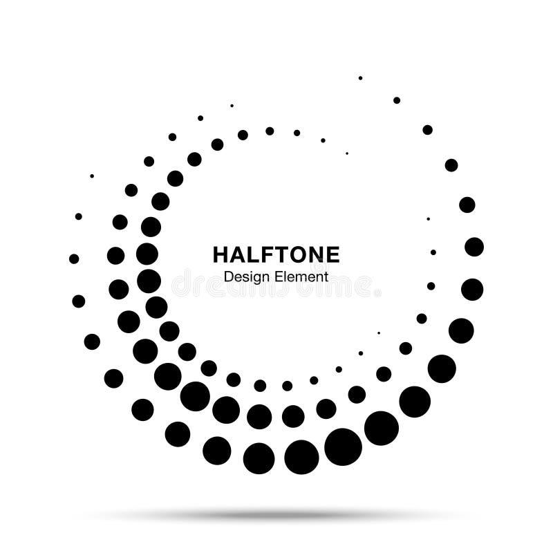 Рамка полутонового изображения поставленная точки кругом Эмблема логотипа точек вектора Круглая текстура растра точки круга полут иллюстрация вектора