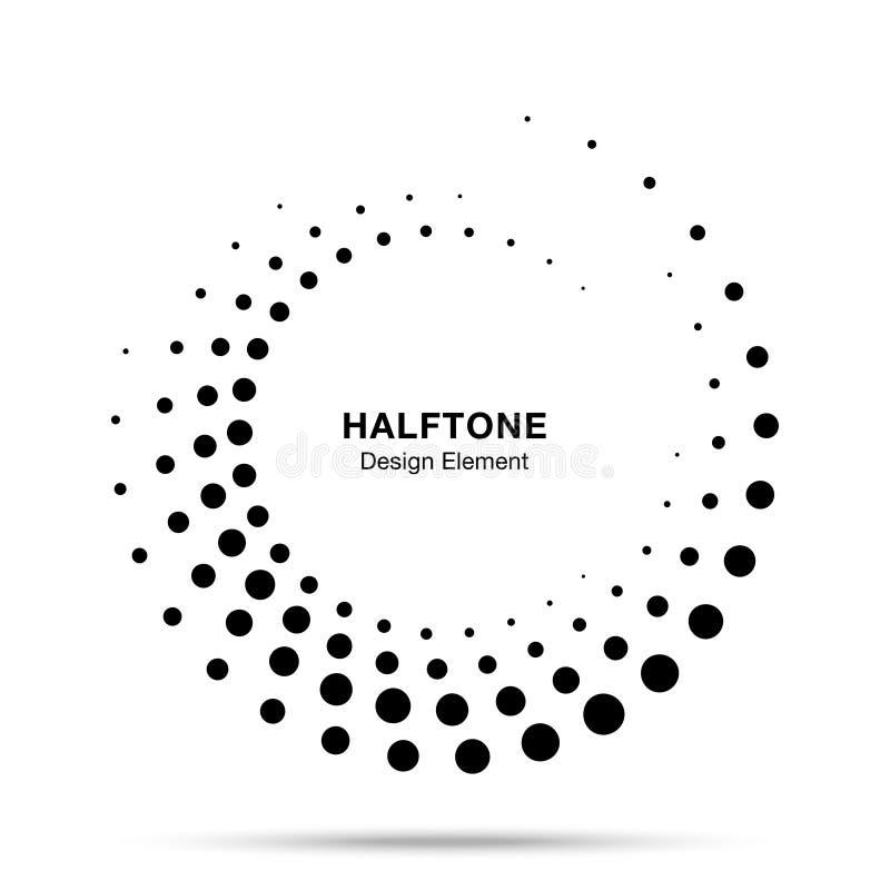 Рамка полутонового изображения поставленная точки кругом Эмблема логотипа точек вектора Круглая текстура растра точки круга полут бесплатная иллюстрация