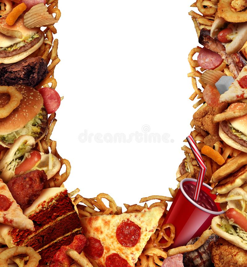 Рамка предпосылки высококалорийной вредной пищи иллюстрация вектора