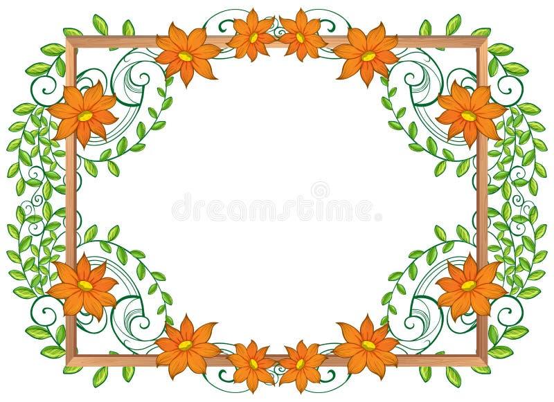 Рамка природы с цветками и лист иллюстрация вектора