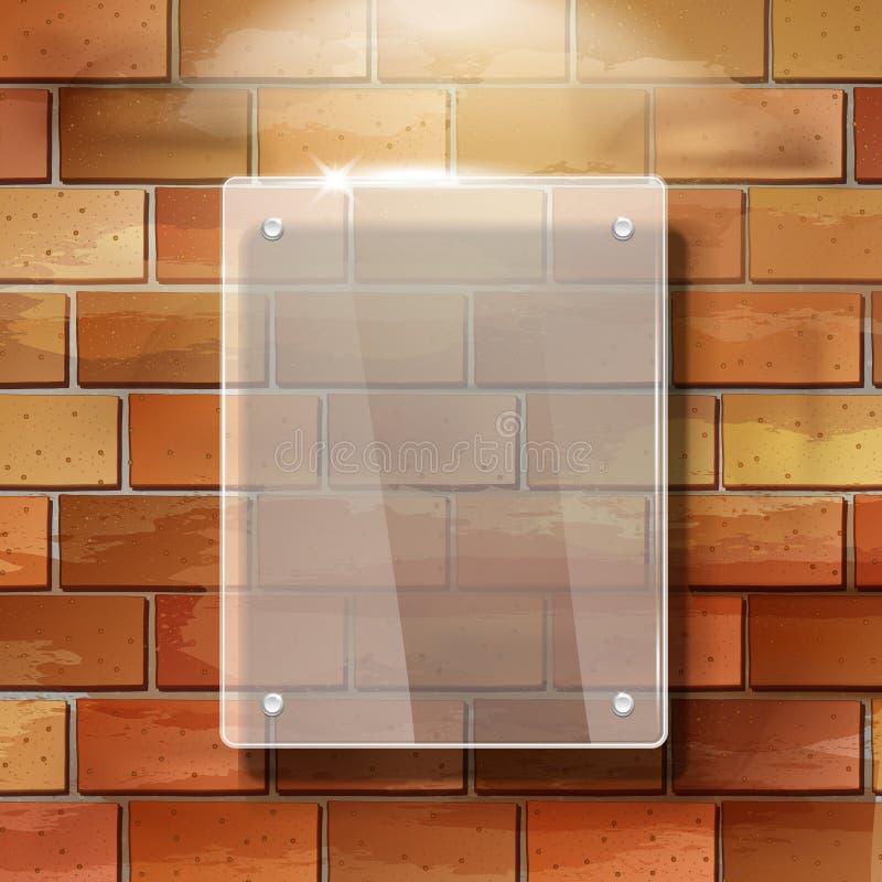 рамка пробела вектора 3d стеклянная на красной кирпичной стене иллюстрация вектора