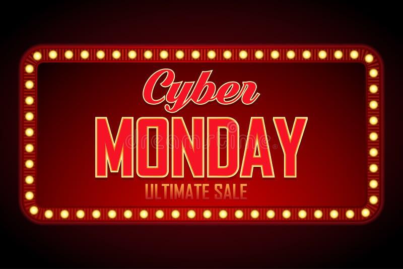 Рамка продажи понедельника кибер ретро светлая Шаблон дизайна предпосылки вектора для продажи и скидок рынка Реклама знака дела бесплатная иллюстрация
