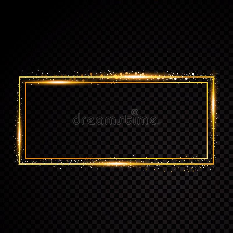 Рамка прямоугольника вектора Сияющее знамя Изолированный на черной прозрачной предпосылке также вектор иллюстрации притяжки corel бесплатная иллюстрация