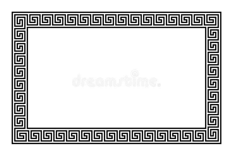 Рамка прямоугольника с безшовной картиной меандра иллюстрация вектора