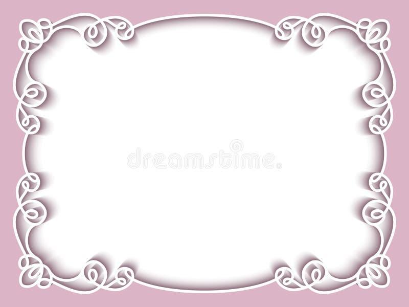 Рамка прямоугольника бумажная, шаблон поздравительной открытки иллюстрация штока
