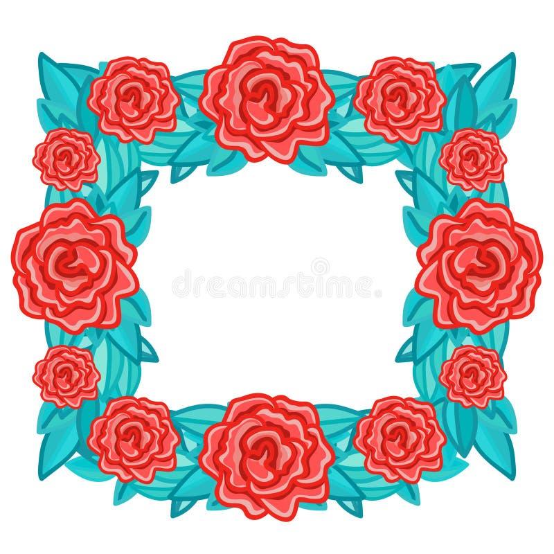 Рамка прямоугольника флористическая ретро с красными розами с листьями бесплатная иллюстрация