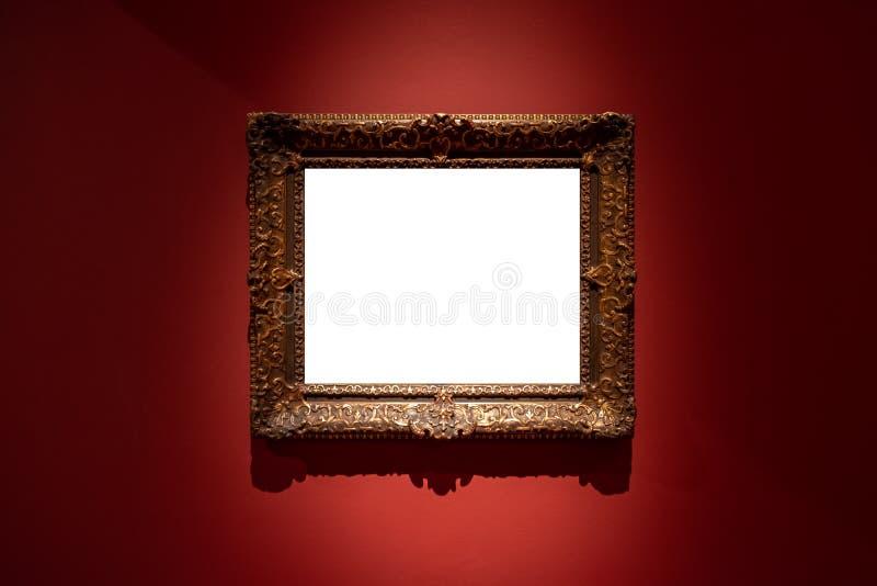 Рамка пустой смертной казни через повешение индивидуальная в предпосылке красного цвета художественной галереи стоковые изображения rf