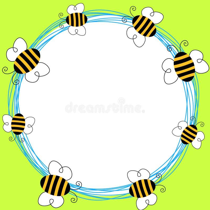 Рамка пчел летания круглая иллюстрация штока
