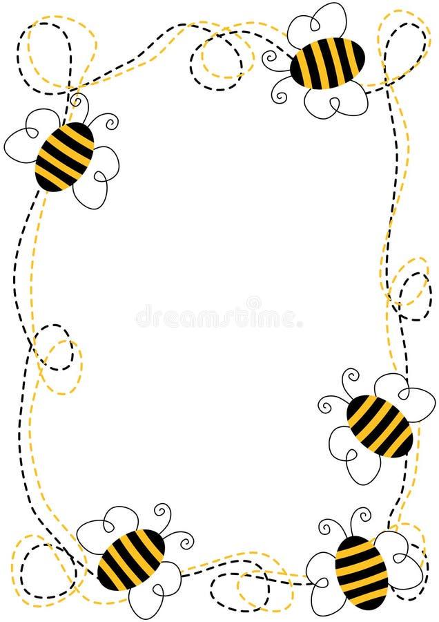 Рамка пчел летания иллюстрация вектора