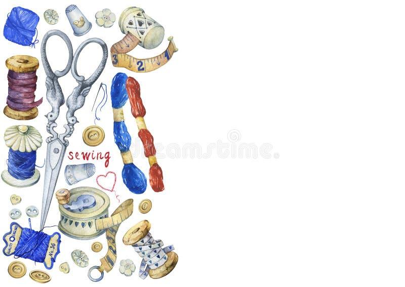 Рамка различных винтажных объектов для шить, ремесленничества и handmade иллюстрация вектора
