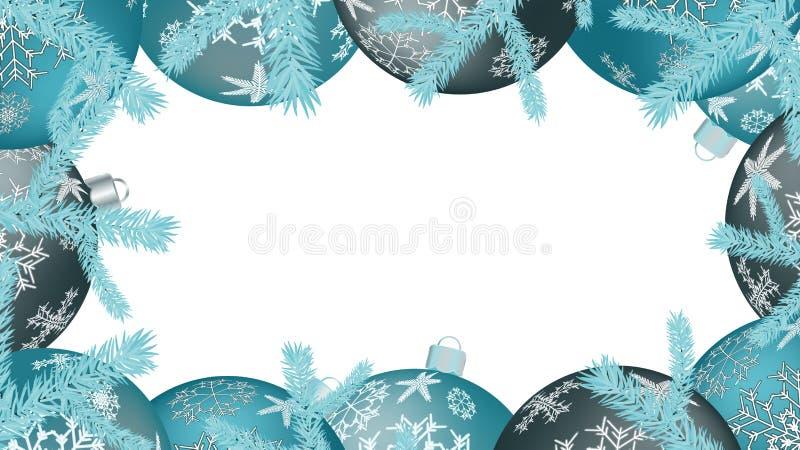 Рамка рождества для шариков Нового Года круглых, украшений рождественской елки и ветвей ели изолированных на белизне Предпосылка  иллюстрация штока
