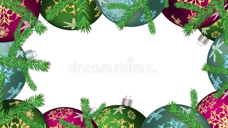 Рамка рождества для шариков Нового Года круглых, украшений рождественской елки и ветвей ели изолированных на белизне Предпосылка  иллюстрация вектора