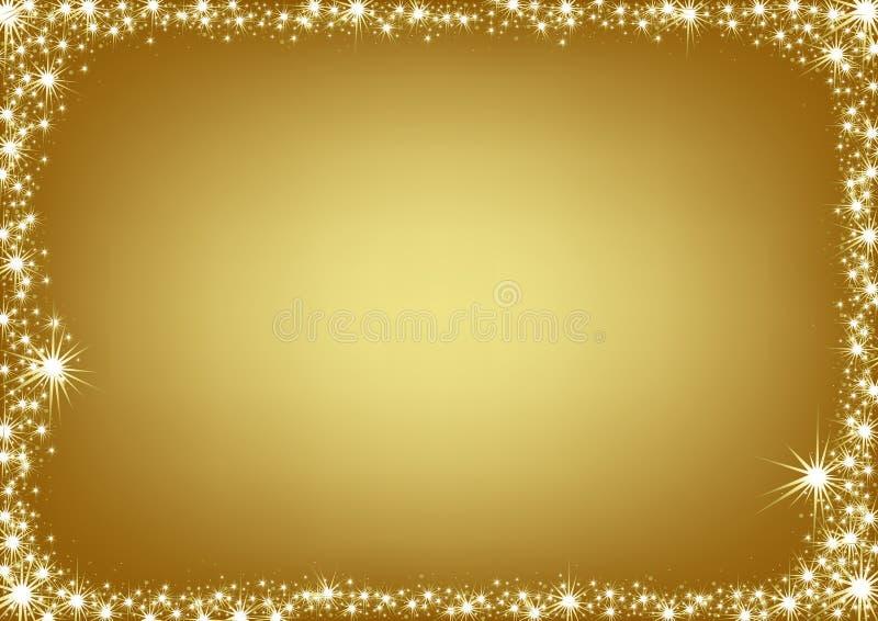 рамка рождества золотистая иллюстрация вектора